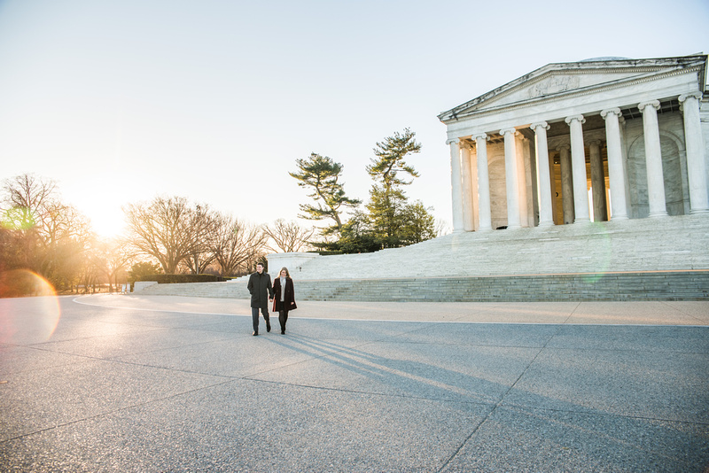 Sarah + Tony's Engagement Session! | Photos from the Harty | Sunrise photography sessions can help you avoid crowds in popular areas like the Lincoln Memorial on the National Mall in Washington, DC
